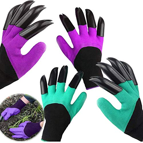 Gardening Gloves,Planter Gardeing Tools Thorn Resistant Safe Garden Genie Gloves With Claws for Digging & Planting Weeding Seeding Tools, Best Garden Tools Accessories Gift for Gardeners (2 Pairs)