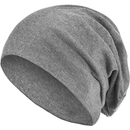 style3 Warme Herbst Winter Slouch Beanie XXL aus atmungsaktivem, feinem und leichten Jersey Unisex Mütze Wintermütze One Size, Farbe:Hellgrau