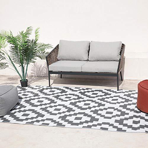 Kenya Outdoor/Indoor tapijt, omkeerbaar, 270 x 180 cm, grijs