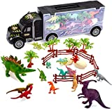 Tuko Dinosaur Car Toys Diecast Transport Carrier Truck Jurassic World Dino Toys Playset(Includes 12pcs Dino Toys, 2 Eggs Dinosaur, 4 Trees, 2 Enclosure, 1 Carrier car Toy)(Black)