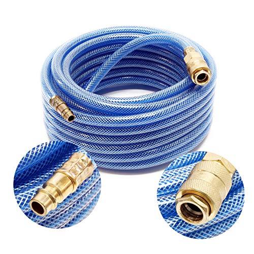 Wiltec PVC Druckluftschlauch mit Schnellkupplung, 10 Meter Länge, Benzin- & Ölbeständig