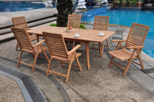 """Hot Sale Grade-A Teak Wood Luxurious Dining Set Collections: 7 pc - 94"""" Double Extension Rectangle Table And 6 Ashley Reclining Arm Chairs"""