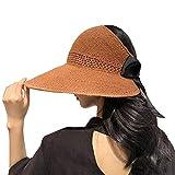 Lazzon Donna Cappello di Paglia Cappellino da Sole Pieghevole Floppy Grande Bordo Protezione Solare All'Aperto Protezione UV Estivo Cappelli della Spiaggia
