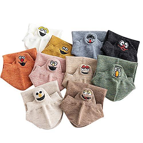 teyiwei 10 Paare Frauen Socken - Kawaii Lustige Ausdruck Baumwolle Gestickte Mädchen Söckchen(Zufällige Farbe)