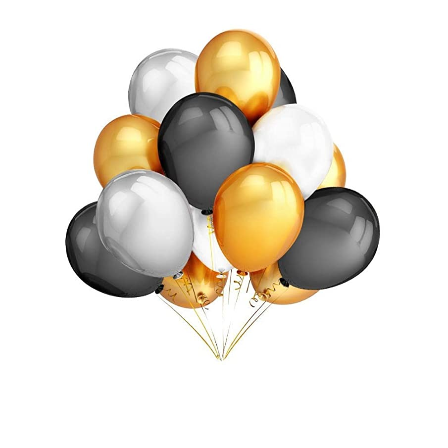 Imme 18Pcs 12 Inches Gold & Silver & Black & White Color Latex Balloons Party Decoration Accessories & Party Favors