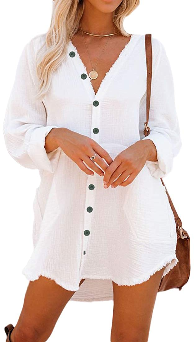 Button Max 65% OFF Down Tunic for Women Long Blouse with Sleeve half Shirt Neck V