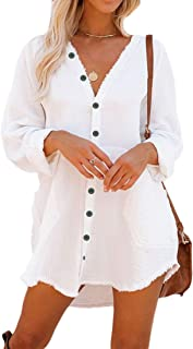 Button Down Tunic for Women Long Sleeve V Neck Blouse Shirt with Frayed Trim Relaxed Fit