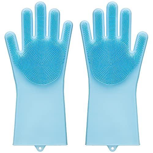 Nelumo® Universal-Reinigungs-Handschuhe -Hergestellt aus ökologischen Lebensmittel-Silikon, ohne BPA -Hitzebeständigkeit bis zu 121 Grad Celsius -Integrierte Bürste -Universeller Zweck (Gletscherblau)