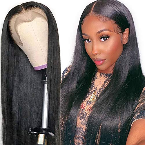 QTHAIR 4x4 Lace Front Wigs Straight Hair Brazilian Virgin Human Hair Lace Closure Wigs For Black Women 150% Density Pre Plucked With Elastic Bands Natural Color (24 inch, Straight wig)