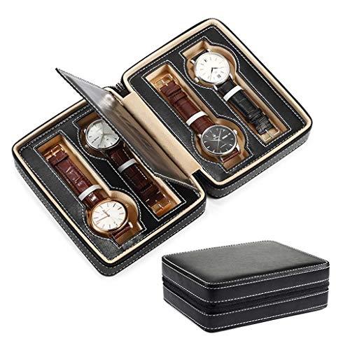 Yousiju Caja De Reloj De 4 Ranuras Organizador Impermeable Reloj De Viaje Almacenamiento Caja con Cremallera Correa De Reloj Portátil Bolsa Organizadora (Color : Black)