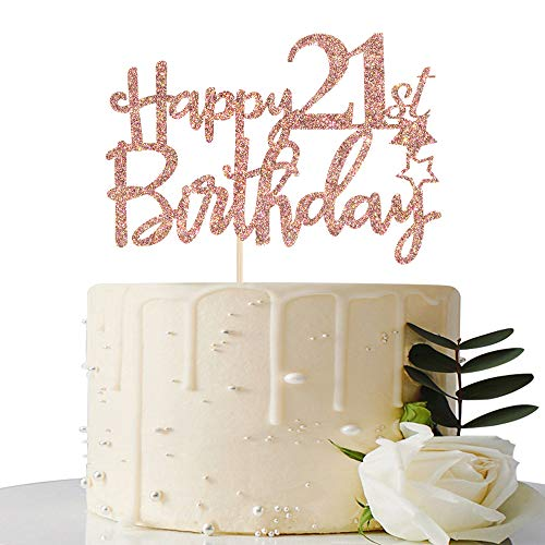 Rose Gold Glitter Happy 21st Birthday Cake Topper - 21 Cake Topper - 21st Birthday Party Supplies - 21st Birthday Party Decorations