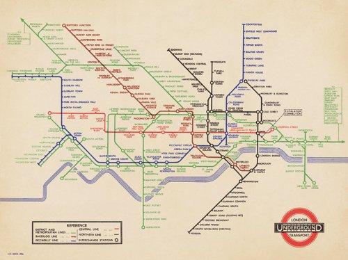 Pyramid International - Mappa Vintage in Tela della metropolitana di Londra del 1939, 60 x 80 cm