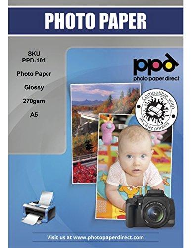 PPD 50 Blatt x A5 PREMIUM Inkjet 270 g/m2 Fotopapier Hochglänzend Mikroporös - echte Profiqualität, wasserfest, sofort trocken und brillante Farbwiedergabe PPD-101-50