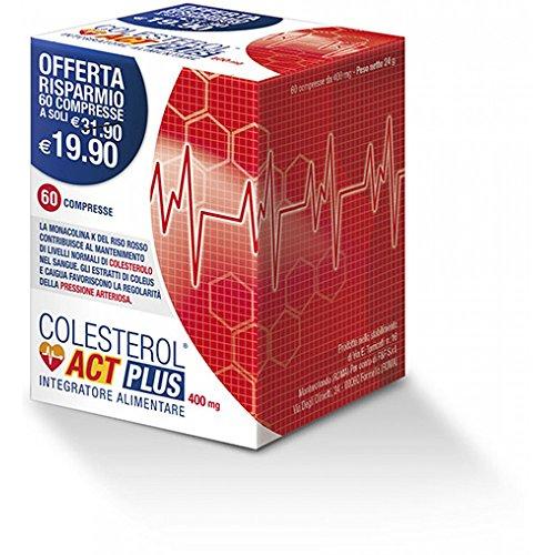 ACT Colesterol Act Plus Integratore Alimentare, Rosso, 60 Compresse da 400Mg, 24 Grammi