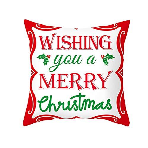 "Beydodo Funda Cojines 1 Pieza Fundas para Cojin 40X40 ""Wish You A Merry Christmas Rojo Verde Blanco"