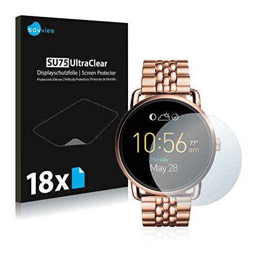 Savvies 18x Schutzfolie kompatibel mit Fossil Q Wander Bildschirmschutz-Folie Ultra-transparent