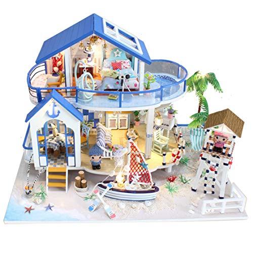 GuDoQi Casa de Muñecas de Madera DIY, Miniatura de la Casa de Muñecas con Muebles y Música, Modelo de Mini Apartamento Hecho a Mano para Adultos, Blue Sea Legend
