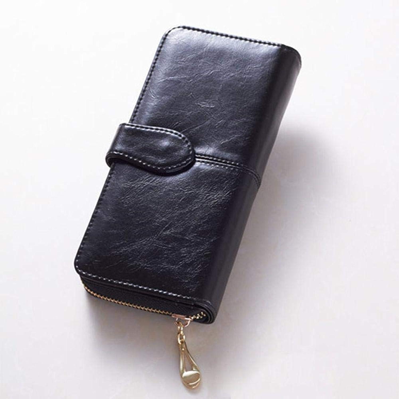 Girls Purse Women's Wallet,Ms. Oil Wax Leather Large Wallet Zipper Buckle Handbag (color   D)