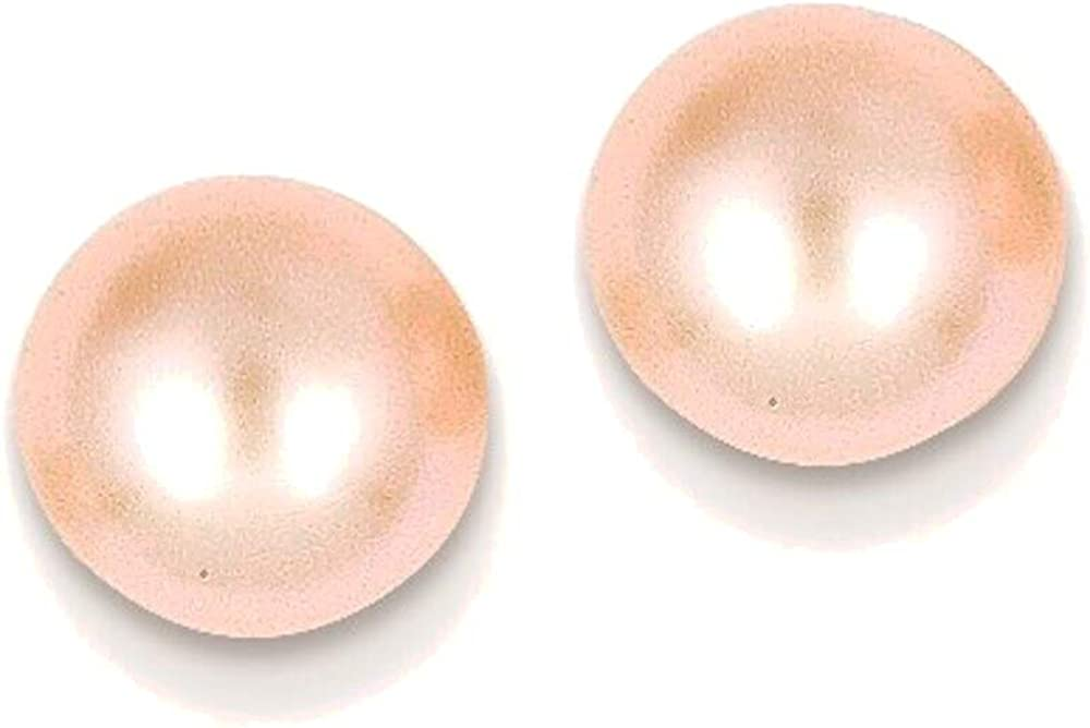 7-8mm Pink Button Freshwater Cultured Pearl Stud Post Earrings in 14K Yellow Gold