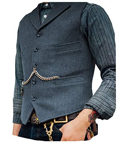 Chaleco de lana Solove-Suit para hombre, traje de novio, para boda, oeste, tweed, formal, corte ajustado Color azul marino claro. M