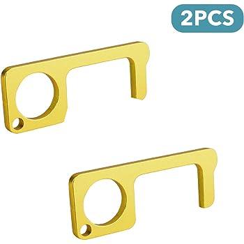 dorado 2 unidades Herramienta para abrir puertas y llavero con l/ápiz capacitivo sin contacto para mantener las manos limpias KINGSBOM EDC