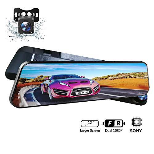 YEESTEK Mirror Dash Cam, 1080P Full HD Dash Camera for Cars, Recorder Super Night Vision, Wide Angle, Motion Detection, Parking Monitoring, G-Sensor, Loop Recording
