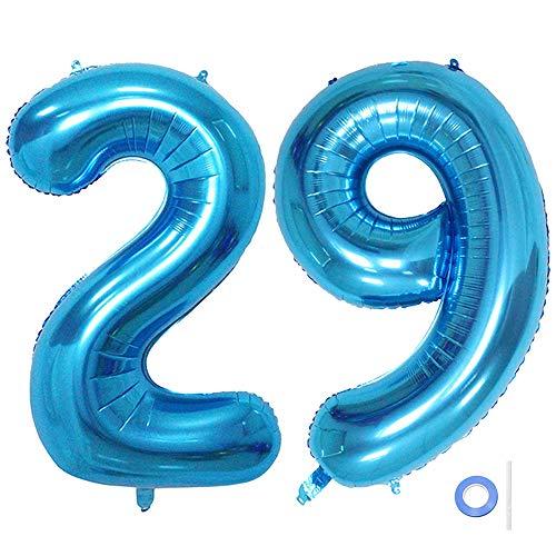 Ceqiny Globo de mylar 40 pulgadas con número 29 globo gigante globo papel aluminio para fiesta de cumpleaños boda despedida soltera compromiso decoración de aniversario, dígitos 29 globo Azul