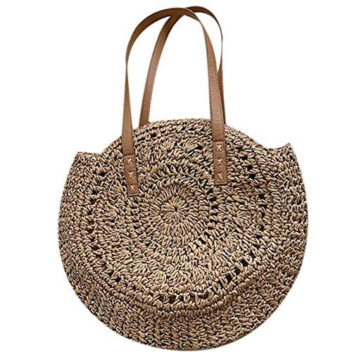 arthomer Runde Tasche aus Stroh, für Damen, Strandtasche, Sommertasche, Crossbody-Tasche, Doppelzweck-Beutel Kaffeebraun