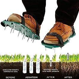 ddmlj 1 Paire Aérateur De Pelouse Chaussures Jardin Cour Herbe Cultivateur Scarification Jardin Manuel Aérateurs Outils…