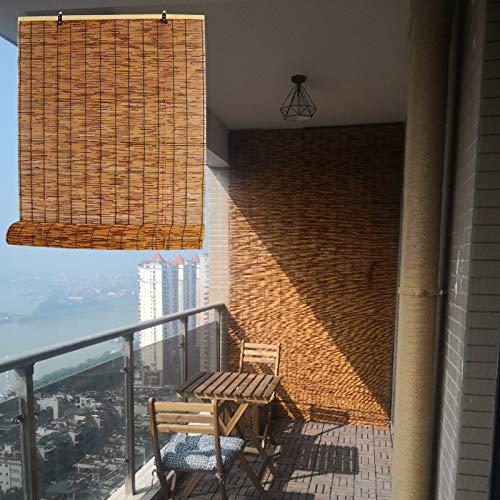 LMDX Estor Enrollable Bambu para Ventanas, Persianas De Bambú para Exterior, Protección Solar, para Sala De Yoga, Cocina, Jardín, Patio, Balcón Cortinas Opacas 90cm 100cm 120cm 145cm