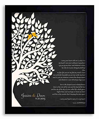 8x10 Framed Art Print - E.E. Cummings Personalized Gift for Anniversary 1st Paper Gift for Couple Family Wedding Poem Tree Gift - With Solid Wood Frame & Gift Wrapping LTC-P1133
