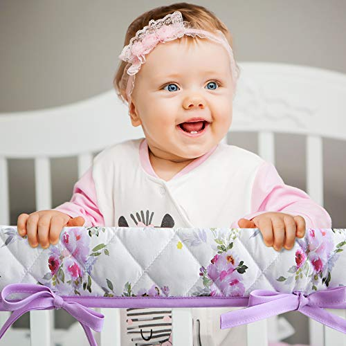 3-Piece Padded Baby Floral Crib Rail Cover Protector Set from Chewing, Crib Rail Teething Guard for Standard Cribs, 1 Front Rail and 2 Side Rails, Secure Crib Rail Guard