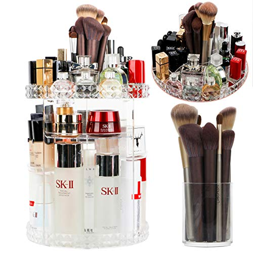 OurWarm 360 Rotating Makeup Organizer with Brush Holders, 6 Adjustable Clear Larger Capacity Cosmetics Organizer Storage Box Fits Makeup Lipsticks Brushes, Jewelry Toiletry Bathroom