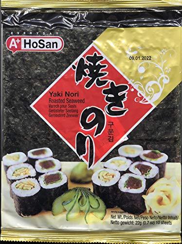 Hosan Alghe Nori per Sushi - 1 confezione da 10 fogli [22 gr]