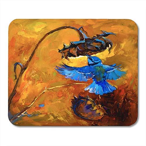 Mauspads Blaues Tierölgemälde auf Leinwand Kleiner Vogel und Sonnenblume Moderner Impressionismus Von Nikolov Natur Mauspad Für Notizbücher, Desktop-Computer Mausmatten, Büromaterial