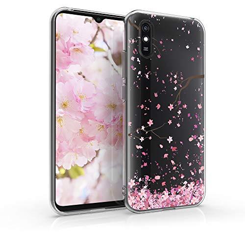 kwmobile Hülle kompatibel mit Xiaomi Redmi 9A - Hülle Handy - Handyhülle - Kirschblütenblätter Rosa Dunkelbraun Transparent