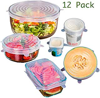 Silicone Stretch Lids,12 Pack Reusable Durable and Expandable Lids to Keep Food Fresh,Fit Various Sizes and Shapes of Containers Food Covers or Bowl Covers, 2 each of 6 Sizes, White