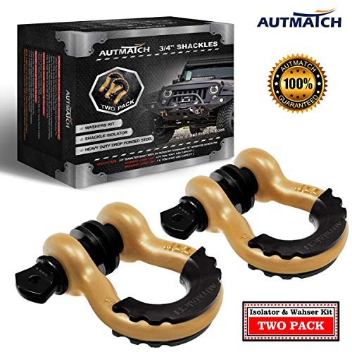 """AUTMATCH Shackles 3/4"""" D Ring Shackle (2 Pack) 41,887Ibs Break Strength with 7/8"""" Screw Pin and Shackle Isolator & Washers Kit for Tow Strap Winch Off Road Vehicle Recovery Gold & Black"""