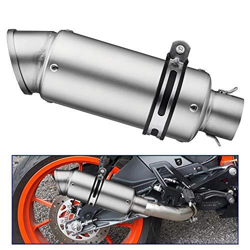kemimoto Motorcycle Universal Slip on Exhaust Silencers Mufflers Compatible with Honda Grom Kawasaki Yamaha Suzuki ATV Dirt Bike Street Bike Scooter Exhaust With Pipe Diameter 38mm-51mm Silver