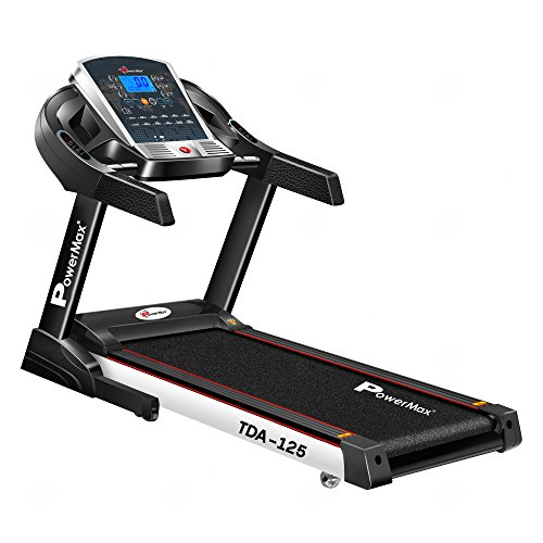 PowerMax Fitness TDA-125 SERIES (4.0HP Peak) Motorized Foldable, Electric Treadmill【LCD Display | BMI | Spring Resistance】Running Machine for Max Pro-Workout by Walk, Run & Jog at Home