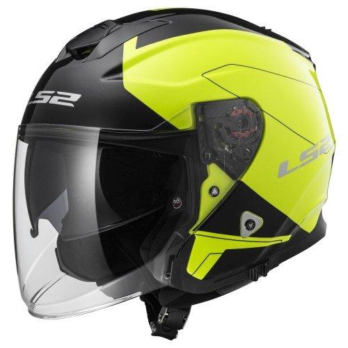 LS2 Casco moto INFINITY BEYOND Nero HI-VIS Giallo, Nero/Giallo, L