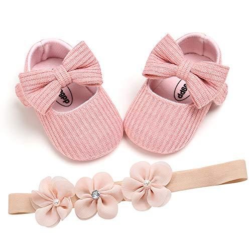Zapatos de Bebé Niñas y Diadema Set de Regalo de Bautismo 2 Piezas, 0-18mese Niña Recié Nacido Primeros Pasos Zapatos Antideslizante Bautizo Boda Fiesta Zapatos Bebé Prewalker Zapatos de Veran