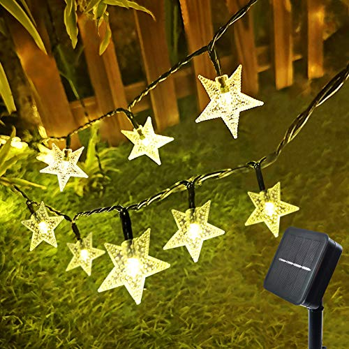 Solar String Lights Garden Star Fairy Lights 33ft 100 LED Outdoor Solar Powered Star Lights Waterproof 8 Modes Decorative Light for Wedding Valentines Party Patio Home Festival(Warm White)