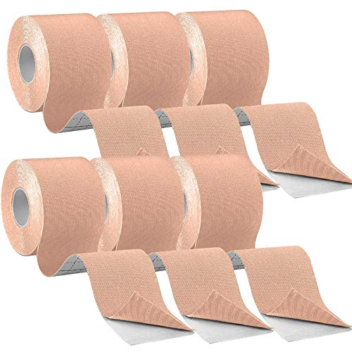CHOIMOKU キネシオテープ 50mm 5cm x 5m テーピングテープ キネシオ テープ 筋肉・関節をサポート キネシオロジーテープ 伸縮性強い 汗に強い スポーツ レギュラー,6巻入 ベージュ