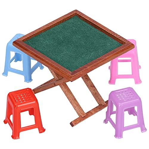Doll Mahjong Table, con silla Mesa de Mahjong chino en miniatura para el hogar para Doll Kid Girl(#1)