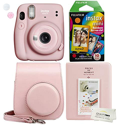 Fujifilm Instax Mini 11 Blush Pink Instant Camera Plus Case, Photo Album and Fujifilm Character 10 Films (Rainbow)