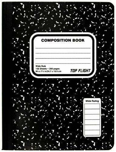 Top Flight Cuaderno marmoleado de composición cosido, negro/blanco, línea ancha, 24.7 cm x 19 cm, 100…