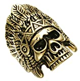 PAURO Men's Skeleton Head Native American Skull Gold Plated Stainlee Steel Indian Ring Feather Crown Headdress Cool Punk Boys Band Size 8