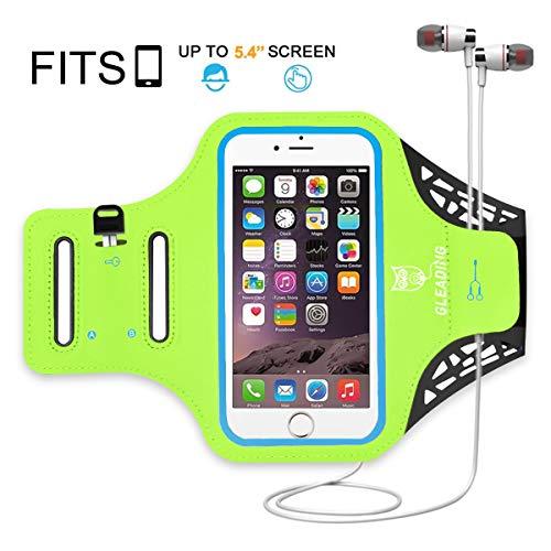 GLEADING Fascia da braccio per telefono cellulare resistente all'acqua per Sport-5.4 pollici Custodia per iPhone 8/7/6/SE,Samsung S7/S6, Huawei -velcro riflettente, proteggi schermo per bici, jogging