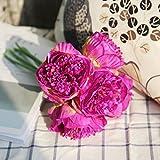 yuyuanDO 5pcs Pivoine Fleur Artificielle Bouquet de Roses Feuilles Floral Mariage Deco Famille Hôtel Fête Intérieur Salle d'étude Bricolage Décoration (Fushia)